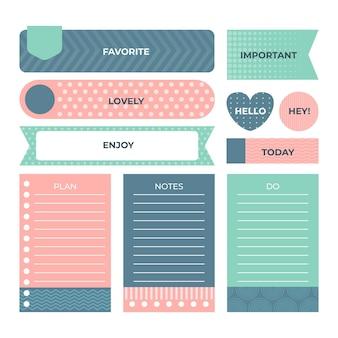 Coleção de elementos de scrapbook de planejador fofos