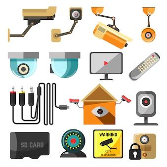 Coleção de elementos de segurança e vigilância.