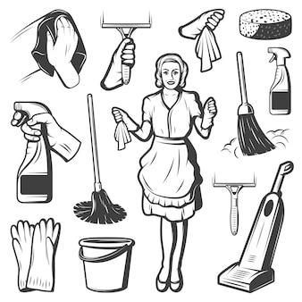 Coleção de elementos de serviço de limpeza vintage