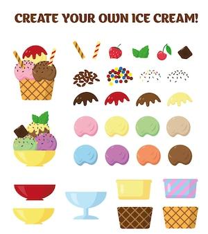 Coleção de elementos de sorvete em fundo branco partes de sorvete para criar seu próprio design