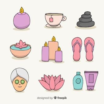 Coleção de elementos de spa
