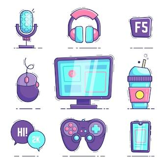 Coleção de elementos de streamer de jogo desenhado à mão