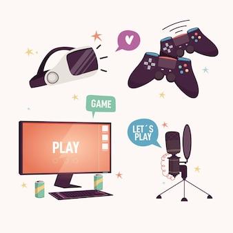 Coleção de elementos de streamer de jogo