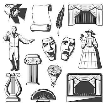 Coleção de elementos de teatro vintage