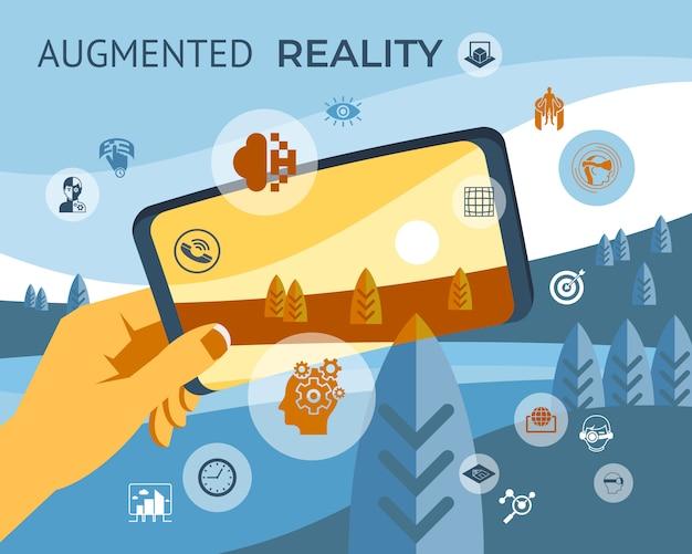 Coleção de elementos de tecnologia de realidade aumentada