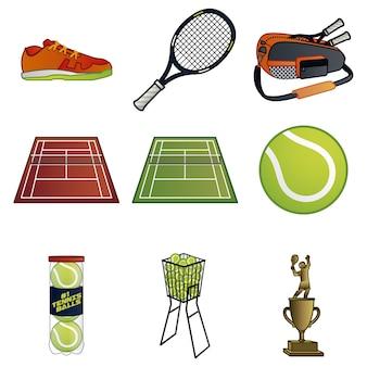 Coleção de elementos de tênis