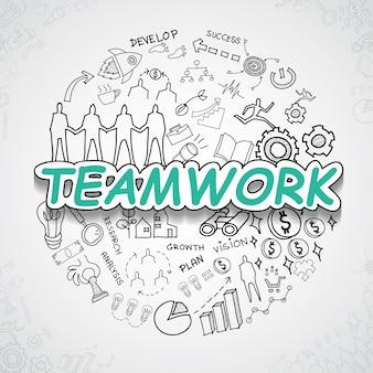 Coleção de elementos de trabalho em equipe