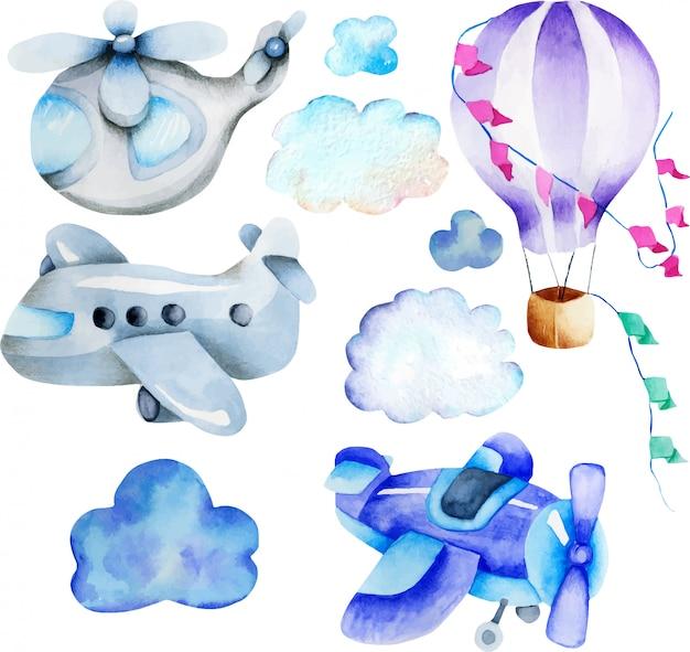 Coleção de elementos de transporte aéreo em aquarela