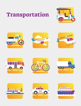 Coleção de elementos de transporte público e comercial