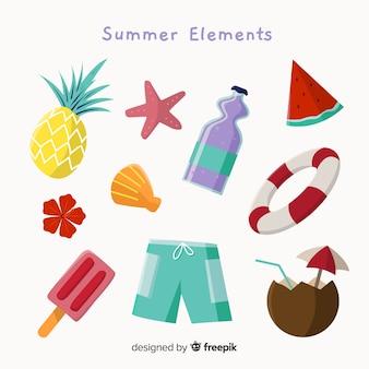 Coleção de elementos de verão colorido