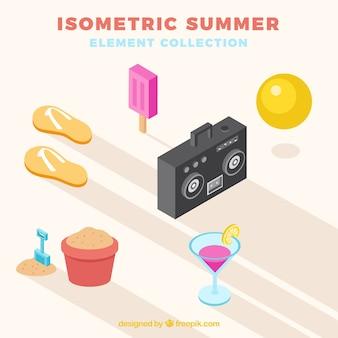 Coleção de elementos de verão com roupas em estilo isométrico