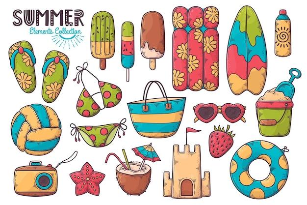 Coleção de elementos de verão desenhada à mão