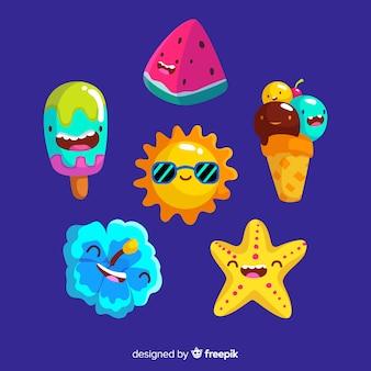 Coleção de elementos de verão dos desenhos animados