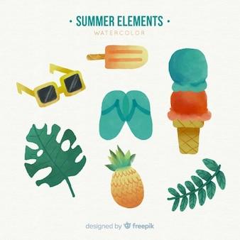 Coleção de elementos de verão em aquarela