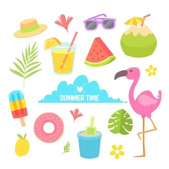 Coleção de elementos de verão em design plano