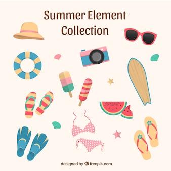 Coleção de elementos de verão em estilo simples