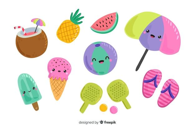 Coleção de elementos de verão estilo kawaii