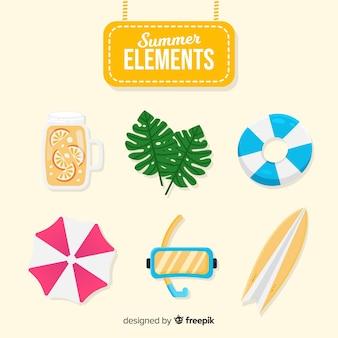 Coleção de elementos de verão plana