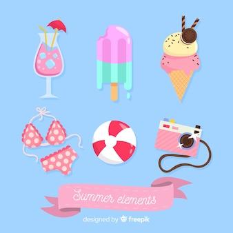 Coleção de elementos de verão rosa plana