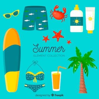 Coleção de elementos de verão