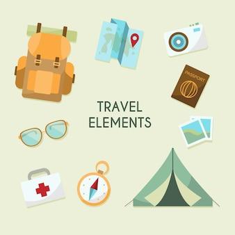 Coleção de elementos de viagem com design plano