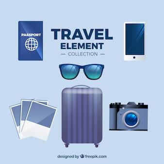 Coleção de elementos de viagem com estilo realista