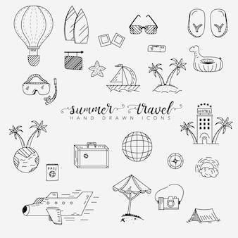 Coleção de elementos de viagem e verão