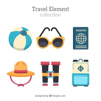 Coleção de elementos de viagem em estilo plano