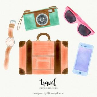 Coleção de elementos de viagem