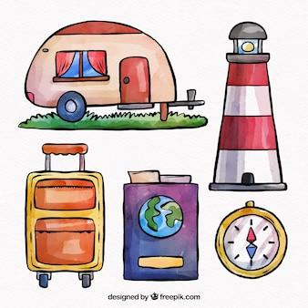 Coleção de elementos de viagens em aquarela