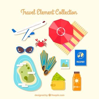 Coleção de elementos de viagens em estilo simples