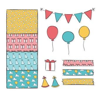 Coleção de elementos decorativos de álbum de recortes de aniversário