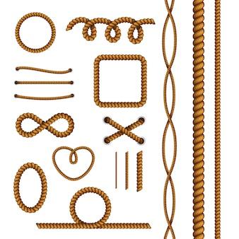 Coleção de elementos decorativos de corda