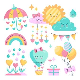 Coleção de elementos decorativos de decoração plana orgânica linda chuva de amor