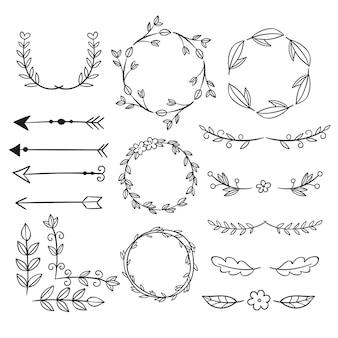 Coleção de elementos decorativos desenhados à mão