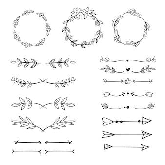 Coleção de elementos decorativos desenhados