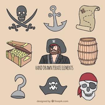Coleção de elementos decorativos pirata em estilo desenhado à mão