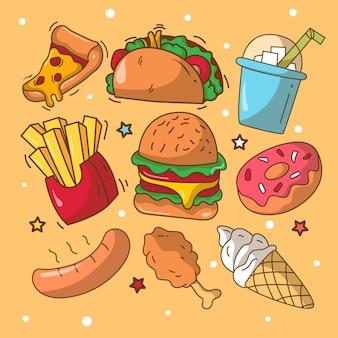 Coleção de elementos desenhados à mão fast food