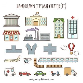 Coleção de elementos desenhados a mão para criar uma cidade