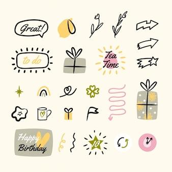 Coleção de elementos desenhados com marcadores