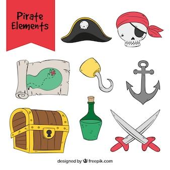 Coleção de elementos desenhados mão do pirata