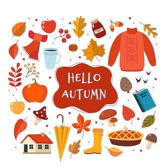 Coleção de elementos desenhados mão outono com letras.