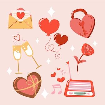 Coleção de elementos desenhados para o dia dos namorados