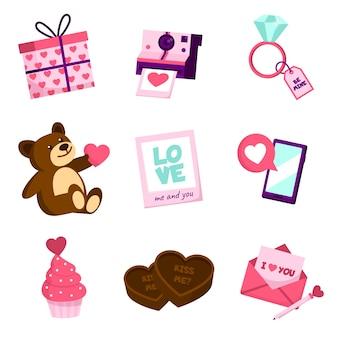 Coleção de elementos diferentes do dia dos namorados