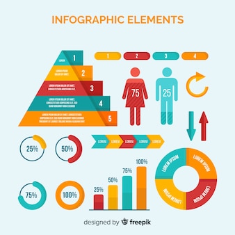 Coleção de elementos diferentes infográfico colorido