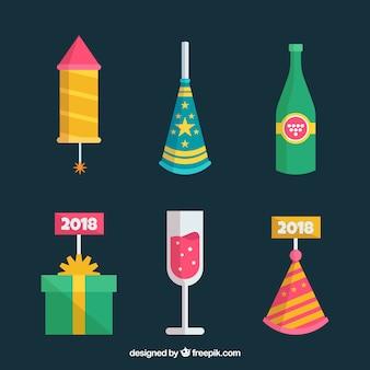 Coleção de elementos do ano novo em design plano