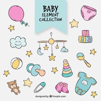 Coleção de elementos do bebê em estilo desenhado a mão