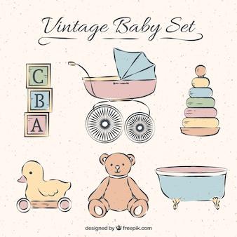 Coleção de elementos do bebê no estilo do vintage