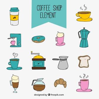 Coleção de elementos do café desenhados à mão