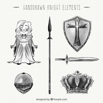 Coleção de elementos do cavaleiro desenhada mão